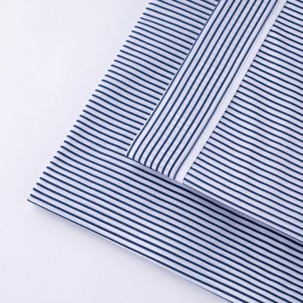 lenzuola letto cotone percalle righe blu