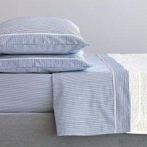 completo biancheria letto cotone percalle righe blu