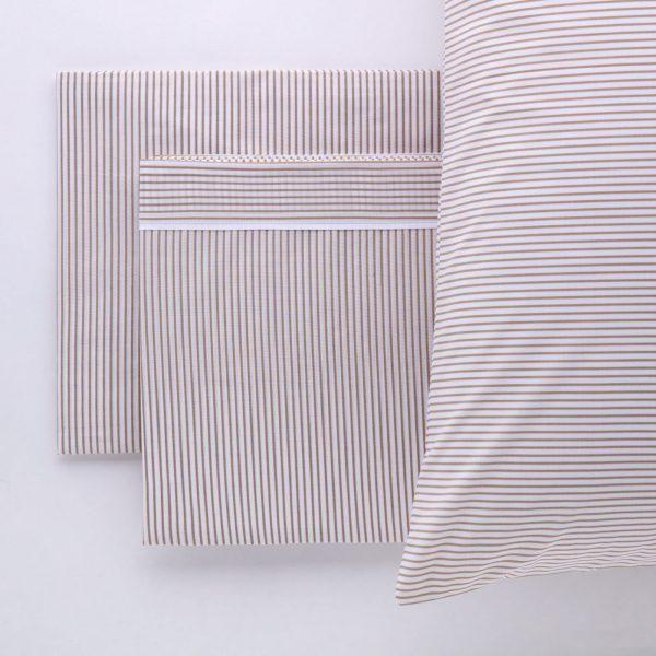 completo biancheria letto cotone percalle righe sabbia