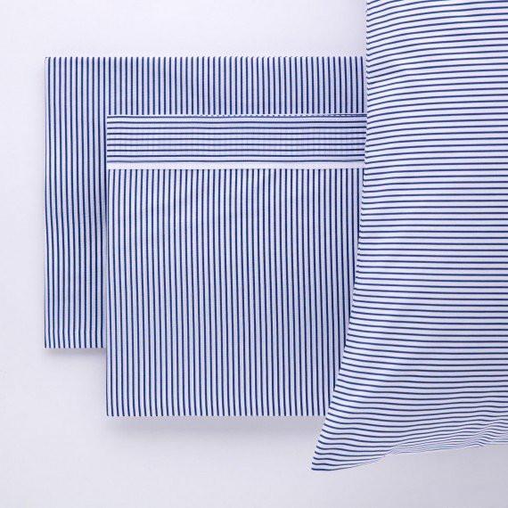 completo letto biancheria cotone percalle righe blu